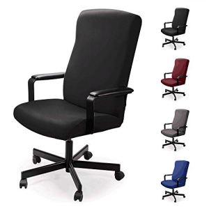 Housse pour Chaise de Bureau Housse de fauteuil rotatif Housse Tissu élastique amovible Housse de chaise extensible Slipcover Chair Cover Protector pour Chaise De Bureau Accoudoirs Chaise (M, Noir)