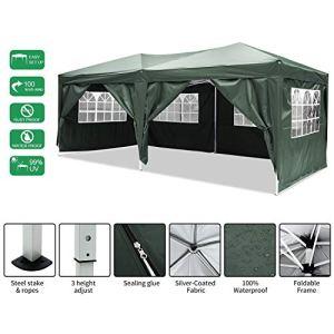 Jackbobo 3x3m/3x6m Gazebo Tente pavillon de Jardin étanche Tente de fête Tente de Jardin Pliable Festival (3x6m_Vert)