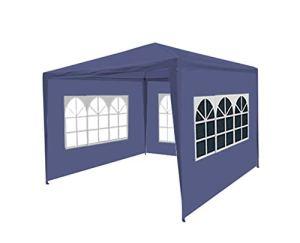 Lizzely Garden & Living Tente de réception 3x3m Budget Trois parois latérales tonnelle de Jardin (Bleu)
