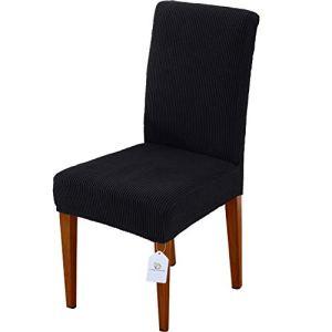 LUOLLOVE Housses de chaises, Extensible Amovible Lavable Housse de Chaise de Salle a Manger, Housse de Chaise Extensible(4-Pièces,Noir)