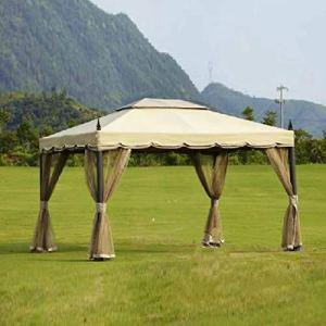 BNXXINGMU 3×3.6 mètresPatio Gazebo Tente Jardin Ombre pavillon Toit Meubles Maison Protection Contre la Pluie avec Gaze