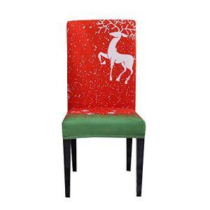 Chnrong 1/4/6 pièces Housses pour chaise de Noël, couvercle pour siège arrière de chaise de Père Noël, confort anti-rides haut de gamme Housse de chaise avec thème de Noël