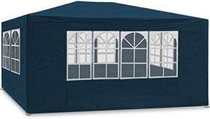 MaxxGarden Marquee 3x4m | Protection UV50+ | Hydrofuge | 12m² | pavillon, Tente de Jardin, chapiteau ou tonnelle du Festival | 4 parois latérales enroulables | 4 fenêtres (Bleu)