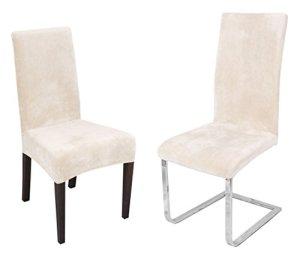 Maya Samt Housse de chaise élastique en fibres de Miro Bi-Elastic Couleur au choix, Mélange de tissus, ivoire, Onesize Stretch