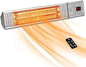 Parasol chauffant, un mur de garage de carbone de chauffage à infrarouge patio intérieur et extérieur ou au plafond avec télécommande,White