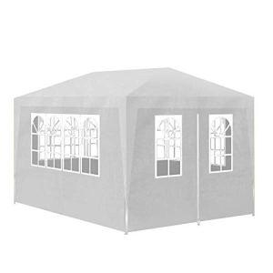Pissente Tonnelle 3 x 4 m, tente de fête imperméable et protection UV pour camping et jardin, blanc