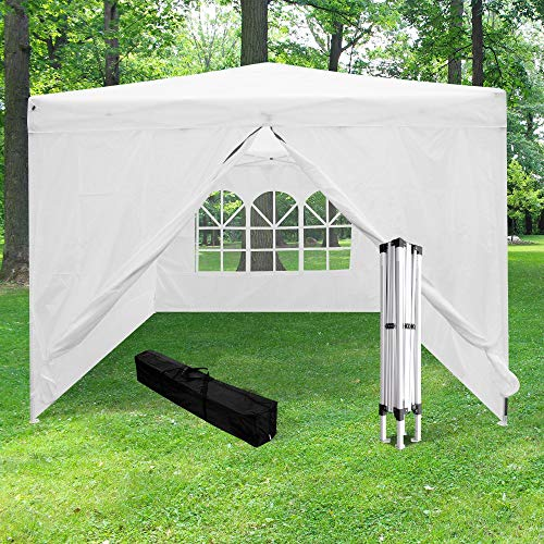 SKYLANTERN Tonnelle de Jardin Pliante 3×3 m + 4 parois Structure Télescopique Toile 160g/m² – Barnum Pliant