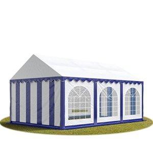 TOOLPORT Tente Barnum de Réception 3×6 m Bâches PVC env. 500g/m² Bleu-Blanc Cadre de Sol Jardin