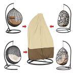 YUIOP Patio Housse de Chaise Suspendue Egg Couvre Chaise de Patio Imperméable et Robuste Housse de Chaise de Patio avec Fermeture à Glissière pour Mobilier Extérieur (75″H X 45″ D, Beige)