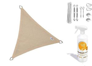 nesling Compleet pakket Coolfit Tissu d'ombrage waterdoorlatend Triangle 3×4 Marraine Blanc met de kleurtint Ivoire met een RVS Bevestigingsset en cleantree buitendoekreiniger