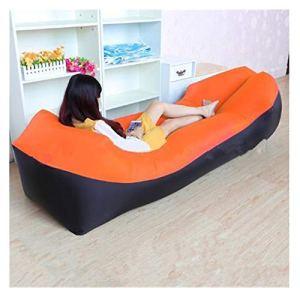 YLJY Coussin Monobloc Sac de Couchage Chaud Sofa Gonflable Ultra léger Camping Paresseux Sac de Couchage Air Lit Beach Lounge Chair Fast pli Canapé Gonflable (Color : Orange)