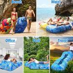 BANGSUN Canapé gonflable | Chaise longue gonflable Canapé hamac idéal pour jardin Motif feuilles bleues