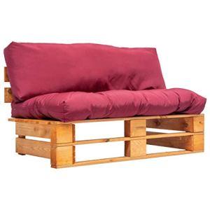 FAMIROSA Canapé de Jardin Palette avec Coussins Rouge Pinède 7445
