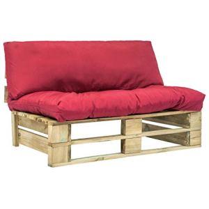FAMIROSA Canapé de Jardin Palette avec Coussins Rouge Pinède5286