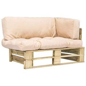 FAMIROSA Canapé de Jardin Palette avec Coussins Sable Pinède5290