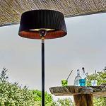 FAVEX – Parasol Chauffant électrique Sirmione Noir- Extérieur – 3 Puissances de Chauffe – Économique – 74 x 74 x224 cm