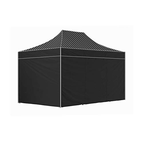 GREADEN Pack 4 CÔTÉS – 3 Murs Pleins avec Une Porte 420D Polyester ENDUCTION PVC 3X4,5M Gamme 40MM (Noir)