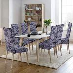 Housse de chaise 2 pièces Housse de Salle à Manger Jacquard Pattern Couverture de chaise de Amovible Lavable Housse de Protection très Facile à Nettoyer et Durable (Paquet de 2 ,Jacquard -Gris Fumé)