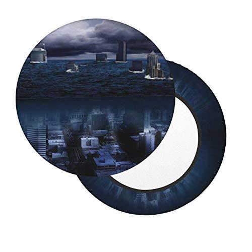 Housses de tabouret de bar rondes de 30,5 à 35,6 cm avec veilleuse de ville, housse de chaise lavable en mousse à mémoire de forme rembourrée avec dos antidérapant et bande élastique