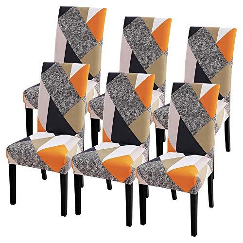 IVYSHION Housse de Chaise Extensible Imprimé Couverture de Chaise pour Salle à Manger Amovible Lavable Revêtement de Chaisepour Bouquet Maison Hotel Mariage Réunion(Jaune, 6 Pieces)