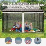 Outsunny Moustiquaires pour tonnelle Barnum pavillon de Jardin 3 x 3,65 m – Lot de 4 moustiquaires zippées + Crochets d'attaches – Polyester Nylon