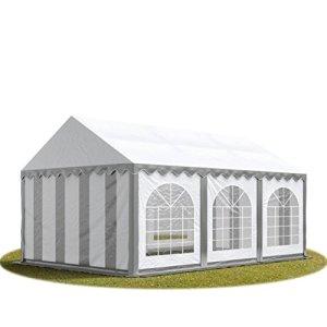 TOOLPORT Tente Barnum de Réception 3×6 m Bâches PVC env. 500g/m² Gris-Blanc Cadre de Sol Jardin
