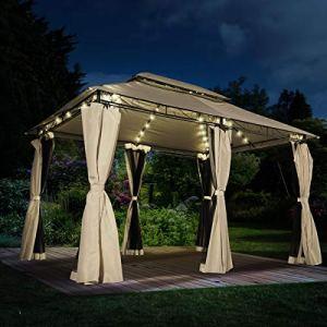 BRAST Tonnelle de Jardin 3×4 Easiness 2,65 H Beige + LEDs + moustiquaire, étanche/imperméable, très Stable, 100% Acier revêtu de PA – pavillon de Jardin 3x4m