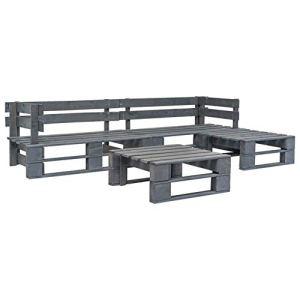 Canapé de jardin en palettes, meubles de jardin en bois, ensemble de canapé pour salon, 4 pièces, gris