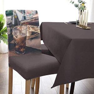 Cola Housses de chaise de salle à manger, motif chien amusant avec téléphone et skateboard, housse de chaise de cuisine, housse de protection amovible pour chaise de salle à manger, cuisine, beige