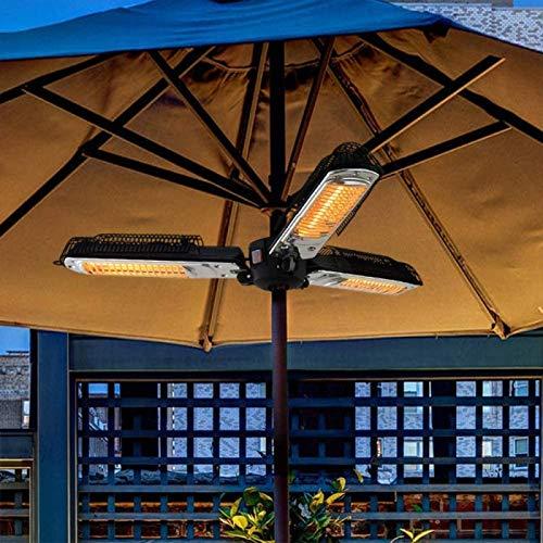 HOLITU Radiateur à Rayonnement Infrarouge, 2000W Parasol Chauffant Facile A Monter Chauffage De Terrasse Imperméable Radiateur électrique Soufflant Garden,Black