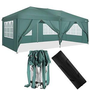 HOTEEL Tonnelle de jardin étanche 3 x 3 m très résistante avec 4 côtés amovibles pour activités de plein air (3 x 6 m avec 6 côtés, vert)