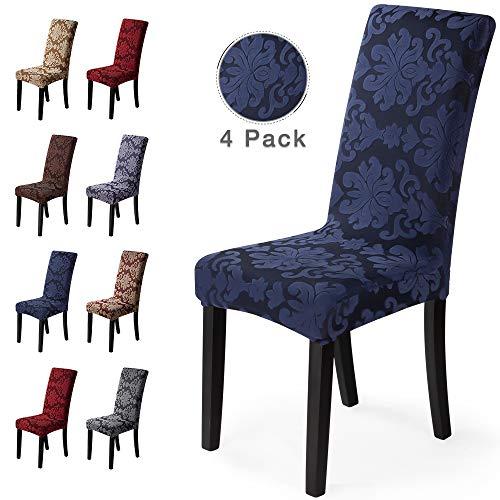 Housse de chaise 4 pièces Housse de Salle à Manger Jacquard Pattern Couverture de chaise de Amovible Lavable Housse de Protection très Facile à Nettoyer et Durable (Paquet de 4, Jacquard -Bleu)