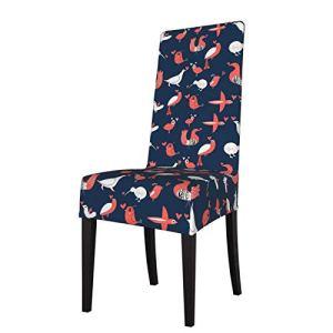 Housse de chaise de salle à manger extensible classique sans accoudoirs, amovible et lavable