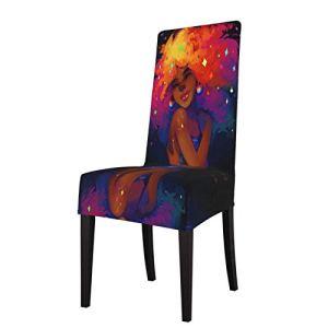 Housse de chaise de salle à manger – Housse de protection amovible et lavable en élasthanne souple – Pour la maison, la cuisine, le restaurant, une fête