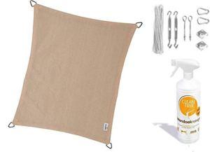 nesling Compleet pakket Coolfit Tissu d'ombrage waterdoorlatend Rectangle 3×4 Marraine Ivoire met RVS Bevestigingsset en buitendoekreiniger