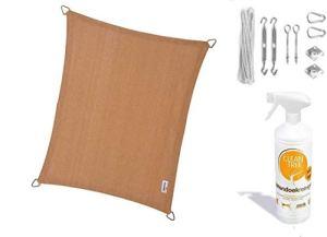 nesling Compleet pakket Coolfit Tissu d'ombrage waterdoorlatend Rectangle 3×4 Marraine Le Sable met RVS Bevestigingsset en buitendoekreiniger