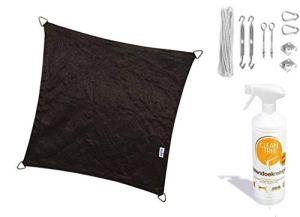 nesling Compleet pakket Coolfit Tissu d'ombrage waterdoorlatend Rectangle 3×4 Marraine Noir met RVS Bevestigingsset en buitendoekreiniger