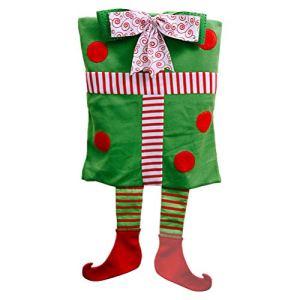 PRETYZOOM – Décoration de Noël – Housse de chaise – Chaise elfe – Boîte cadeau – Décoration de fête