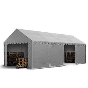 TOOLPORT Abri Tente de Stockage 4 x 8 m, Cadre de Sol, bâches en PVC env. 500 g/m² 100% imperméable, Gris