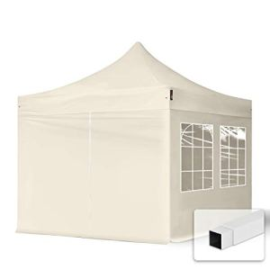 TOOLPORT Tente Pliante 3×3 m – 4 Bâches de Côté (fenêtres en Ogive) Economy PES300 Housse Barnum Chapiteau Pliant Tonnelle Beige
