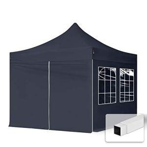 TOOLPORT Tente Pliante 3×3 m – 4 Bâches de Côté (fenêtres en Ogive) Economy PES300 Housse Barnum Chapiteau Pliant Tonnelle Noir