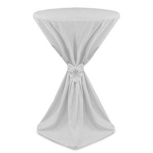 Beautissu Housse de Table de bistrot – Mange Debout – Deco Cocktail Banquet – avec Noeud – Giulia – Ø 60cm – Blanc