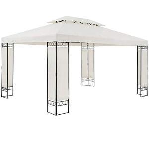 Casaria Pavillon Elda – 3 x 4 m – Parois latérales Solides et imperméables – en métal – Couleur crème