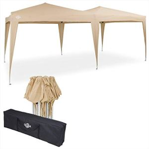 Deuba – Tonnelle de Jardin 3x6m Beige Pop-Up Hydrofuge Protection UV 50+ Sac de Transport Inclus – Tente de réception Barnum tonnelle Pliable