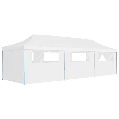 E E-NICES Tente de réception escamotable avec 8 parois 3 x 9 m Blanc