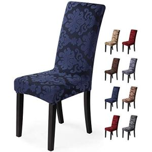 Housse de chaise 2 pièces Housse de Salle à Manger Jacquard Pattern Couverture de chaise de Amovible Lavable Housse de Protection très Facile à Nettoyer et Durable (Paquet de 2, Jacquard -Bleu)