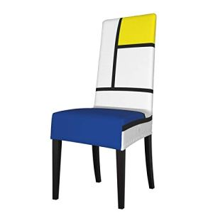 Housse de chaise de salle à manger extensible Mondrian Minimalist De Stijl Art moderne Spandex élastique amovible lavable Housses de chaise pour salle à manger, cuisine, hôtel, cérémonie, fête