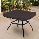 Housse de table carrée 510 g – 100 % résistante aux intempéries avec élastique pour un ajustement parfait (15,2 cm (H) x 91,4 cm (P) x 91,4 cm (l), café
