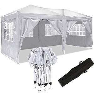 Jardin étanche Tonnelle Tente de Reception Pliante pavillon 3 x 6 m Camping Pavillon Gazebo avec 4 côtés (3 x 6 m, Blanc_Updated)