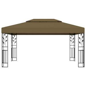 Kshzmoto Pavillon extérieur de Structure de Cadre en Acier, pavillon matériel de Jardin de pavillon de Partie de pavillon de Fibre de Polyester 3 x 4 m-Taupe